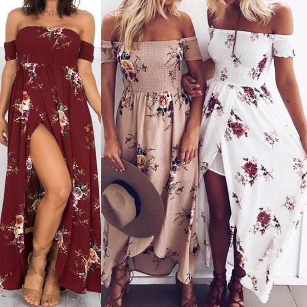 off shoulder floral long dress
