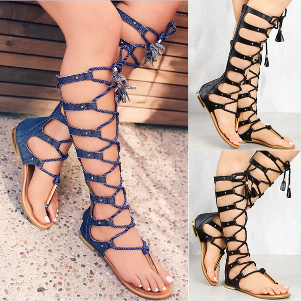 Picture of Summer Sandals Flat Women Shoes Zipper Knee High Gladiator Sandals