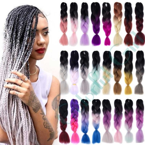 Crochet Braids Box Braids 100g/pc Ombre Kanekalon Jumbo Braids Synthetic  Braiding Hair Extension