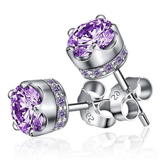 Sterling, DIAMOND, amethystearring, women earrings