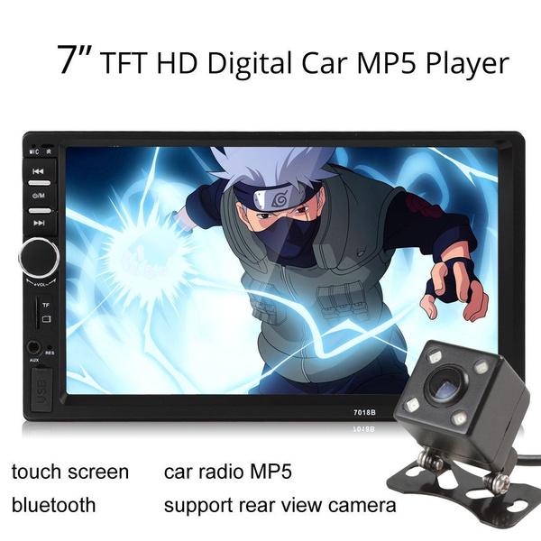 Bluetooth 7018B 7 Inch HD LCD 2-DIN FM USB Car Audio MP5 Player + IR Car  Camera Touch Screen