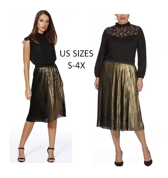 f0b028d919bd5 Moda Brand Womens and Womens Plus Size Size Gold Pleated Skirt. US ...
