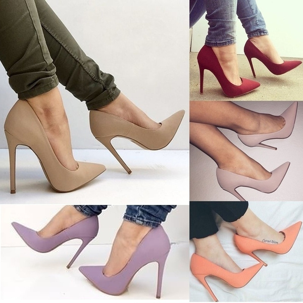Picture of Women Fashion Summer Purple Solid High Heel Thin Heel Sexy Casual Work Shoes