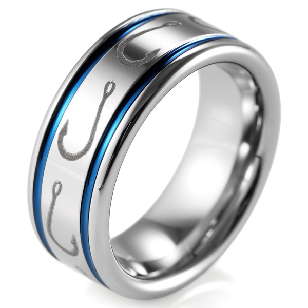 Simple Artistic Fishing Hook Pattern Ring Engraved Flat Tungsten Ring 8mm
