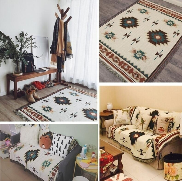 Wish Tapestry Geometric Rugs Cotton Woven Blanket Throws Aztec