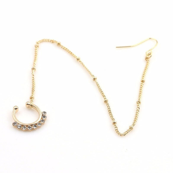 Jewelry Nose Earring Chain Set Crystal Nose Ring Fake Septum Piercing Hanger Clip On