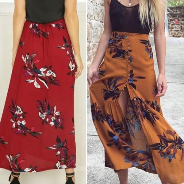 46d97d94e4 Wish | Vintage floral print long skirts women summer elegant beach maxi  skirt Boho high waist asymmetrical skirt