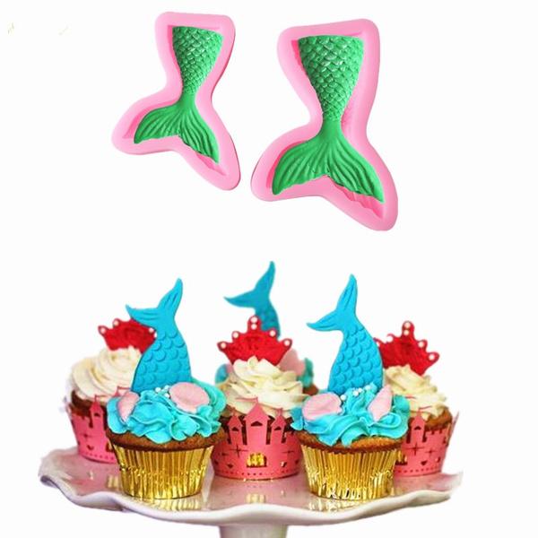 Candy Fondant Decorating Kitchen Silicone Baking Mermaid Tail Cake Mold