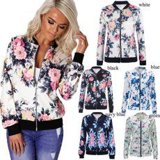 casual coat, Fashion, Floral print, Zip