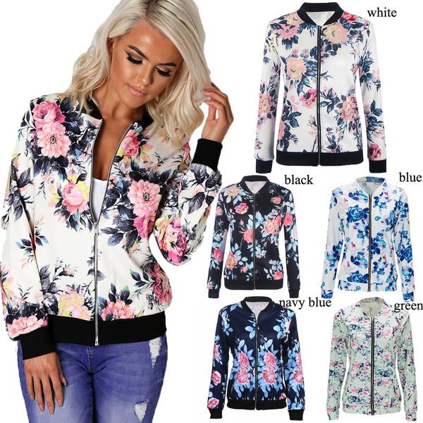 casual coat, Fashion, Floral print, Zip