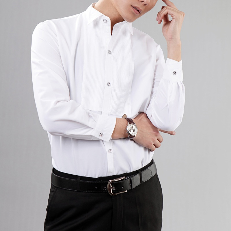 Men Gents White Wing Collar Pleated Front Evening Dress