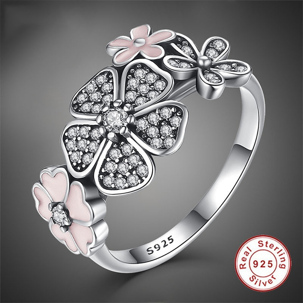 fine sparkling sterling wedding engagement ring floral bridal lucky vine flower aquamarine jewelry diamond silver leaf party bi transparent rings