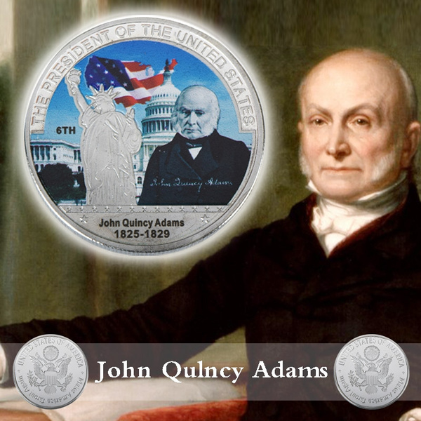 WR Metal Art Craft Quality Silver Coins Limited Edition American 6th  President John Quincy Adams Model Novelty Coin Collection