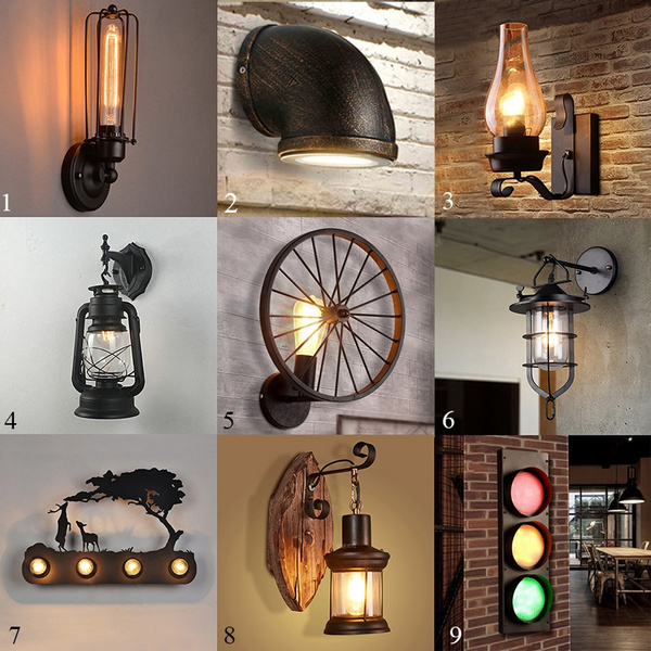 Retro Loft Style Iron Rural Wall Lamp Sconce Light Lighting Fixtures Porch Hallway