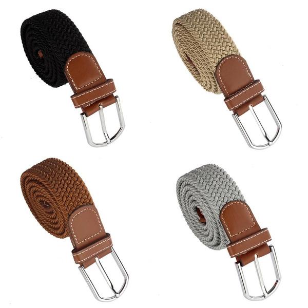 Wish | Men Women Fashion Braided Elastic Stretch Metal Buckle Belt Strap Waistband