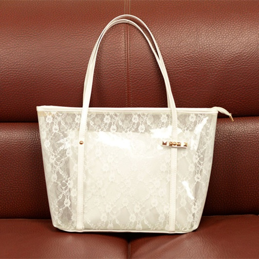 Wish Lady Printing Flower Handbags Designer Tote Bag See Through Shoulder Bags Clear Transparent Jelly