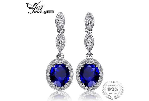 Fashion Jewelry 925 Sterling Silver Ohrring 3.5ct Oval Blue Created Sapphire Drop Earrings