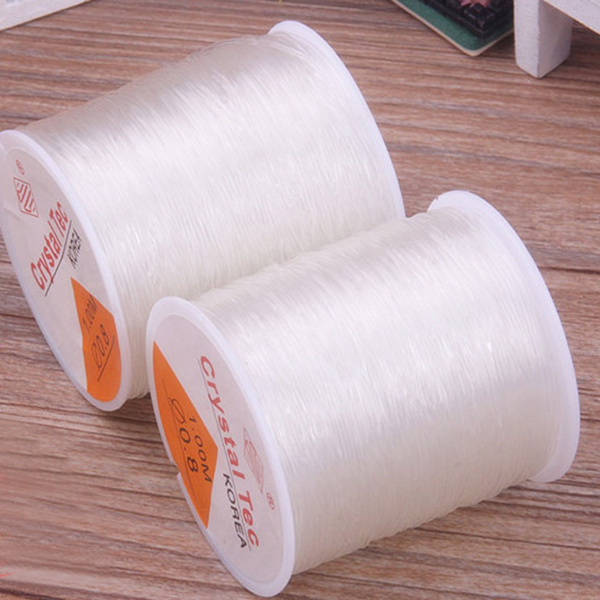 1 Roll 100 Meters Clear Crystal Strong /& Stretchy Elastic Thread Cord 0.8mm