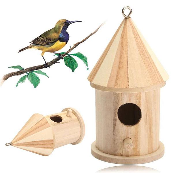 Home Decor, woodenbirdhouse, hangingnestwithloop, Wooden