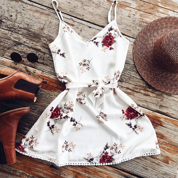 Picture of Sexy Women Casual Deep V-neck Floral Print Mini Dresses