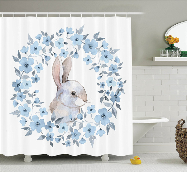 Bathroom Curtains Blue Watercolor