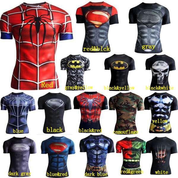 e1aa38c45e6 Compression Shirt Superman Captain America Iron Man 3D Print T-Shirt ...