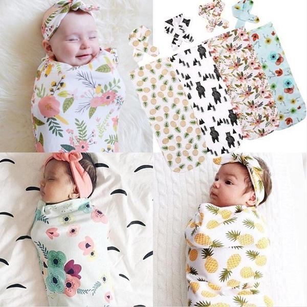Toddler Baby Blanket Swaddle Sleeping Bag Kids Sleep Sack Stroller Wrap Headband