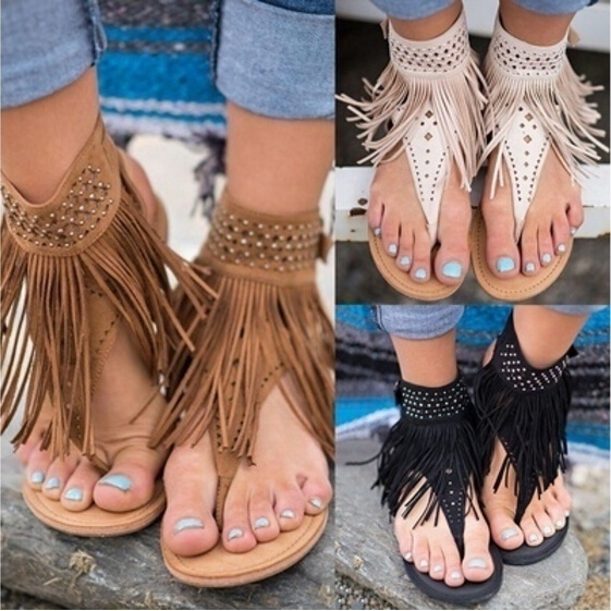 Picture of Woman Fashion Sexy Ankle Casual Shoes Flat Tassel Sandals