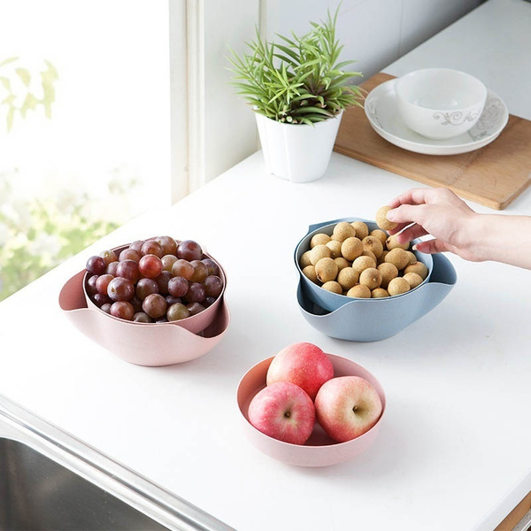 Wish Double Dish Nut Bowl Pedestal Snack Plastic Serving Dishes For Pistachios Peanuts Edamame Cherries Nuts Fruits Cans Olive