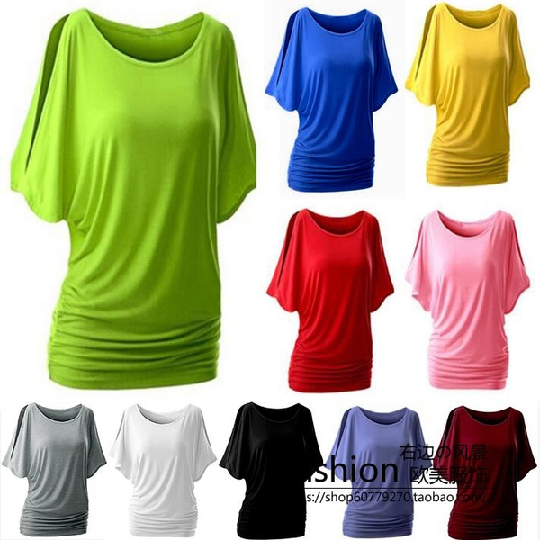 0c135ebd6bef10 Summer Women 10 Colors Bat Sleeve T-shirt Loose Solid Color Round ...
