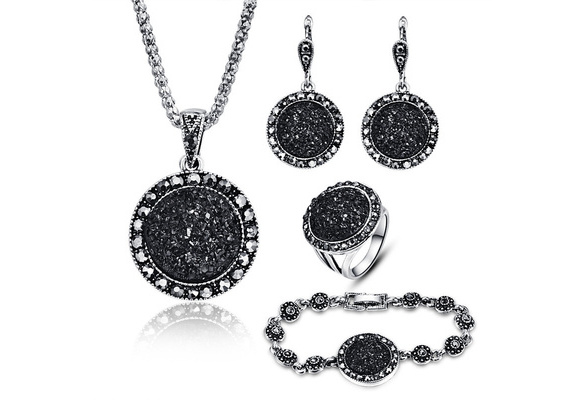 4PCS Black Broken Stone Wedding Jewelry Sets For Women Unique Bohemia Silver Plated Engagement Ring Earrings Necklace Bracelet Set