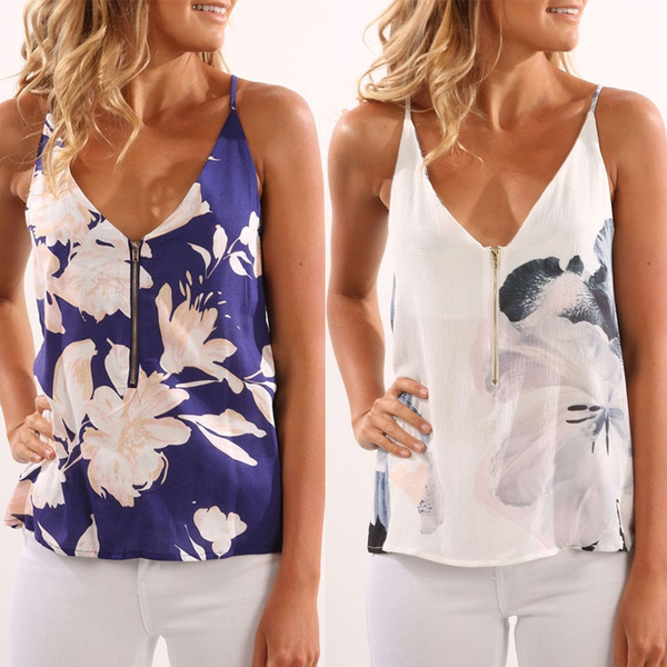 Picture of Flower Printed Women Tank Tops Casual Women Summer Vest Sexy Deep V-neck Women Blouse