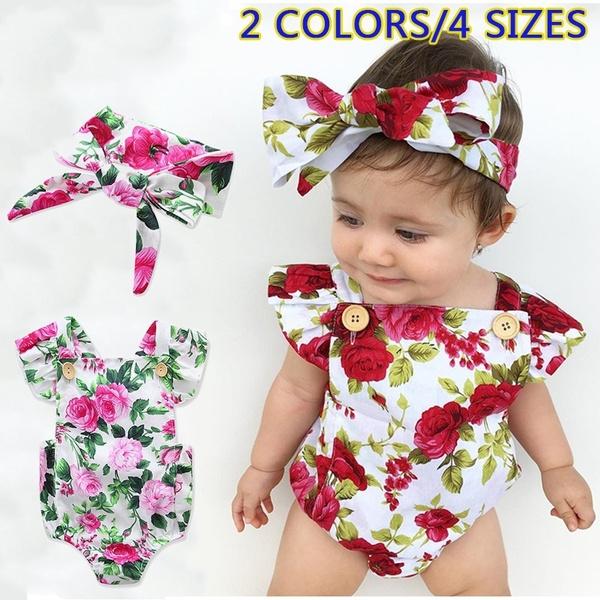436e859f4 2017 HOT Newborn Baby Girls Clothes Flower Jumpsuit Romper Bodysuit +  Headband Outfits C