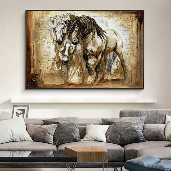 Superieur Retro Brown Horse Wall Art Canvas Horse Painting Vintage Home Decor Wall  Decor Two Horses Standing Oil Painting
