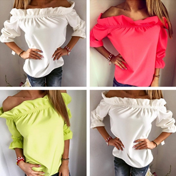 Picture of Fashion Women's Off Shoulder Tops Short Sleeves Solid Color Chiffon Blouse Loose Casual T-shirt
