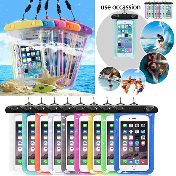 the latest fb794 1ed02 Summer Pouch Swimming Beach Cell Phone Waterproof Bag Mobile Phone Protect  Case Cover Holder With Lanyard