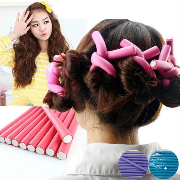 10pcs Souples En Mousse Curlers Makers Bendy Twist Curls Outil Bricolage Coiffure Bigoudi Pour Femme