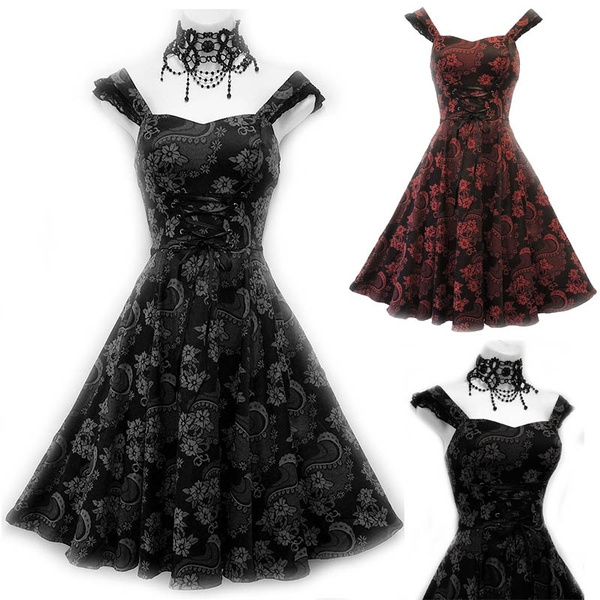 7032cd1596005 New Black Lace Patchwork Dress Classic Retro Corset Style Gothic Revival  Burlesque Party Dress Ribbed Punk Club Dress