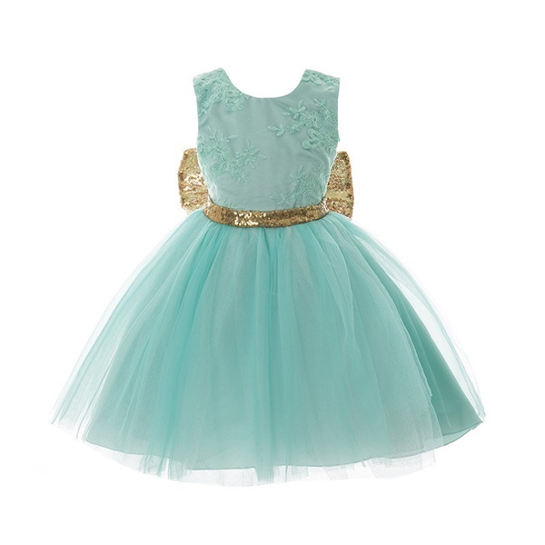 Wish Baby Kids Lace Dress Mint Green Sequins Bow Sash Baby