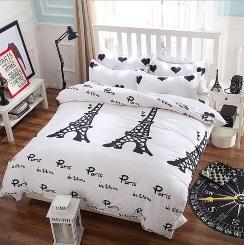 Wish 3pcs New Paris Tower Bedding Set Duvet Cover Quilt Single Queen King Size White Us