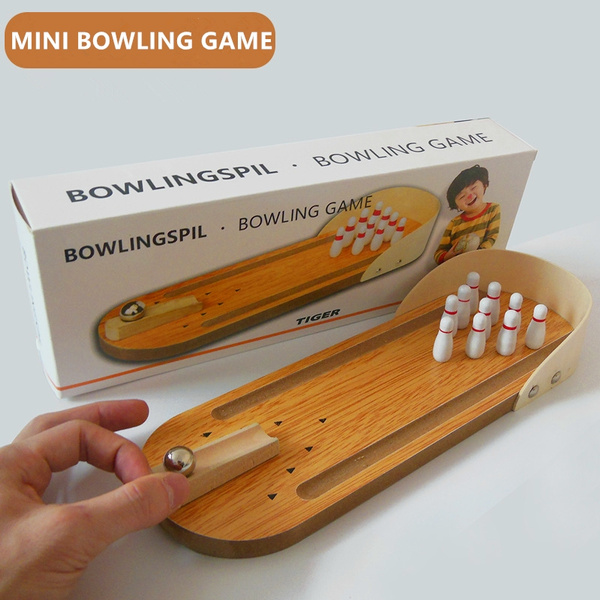 Mini Bowlingspil Game Bowling Ball Wooden Model Toy Stress Releasing Toys