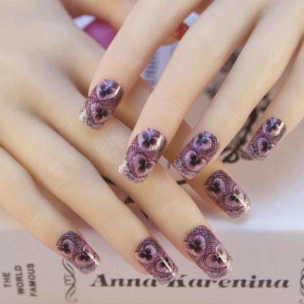 Nail Art Tips Pre Designed Nail tips 24 Pcs Acrylic False French ...