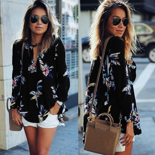 Picture of Women Casual Spring Summer Floral Print Hollow Out V Neck Long Sleeve Chiffon Shirt Blouse Top