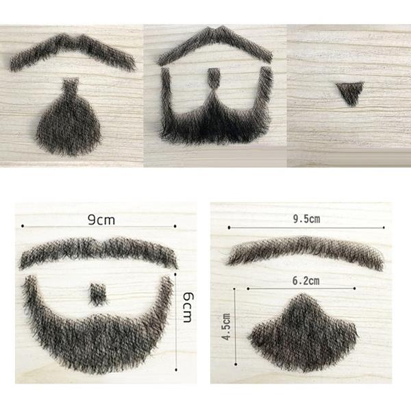 Professional 100/% Human Hair Full Hand Tied Fake Mustache Beard Makeup Beard 009