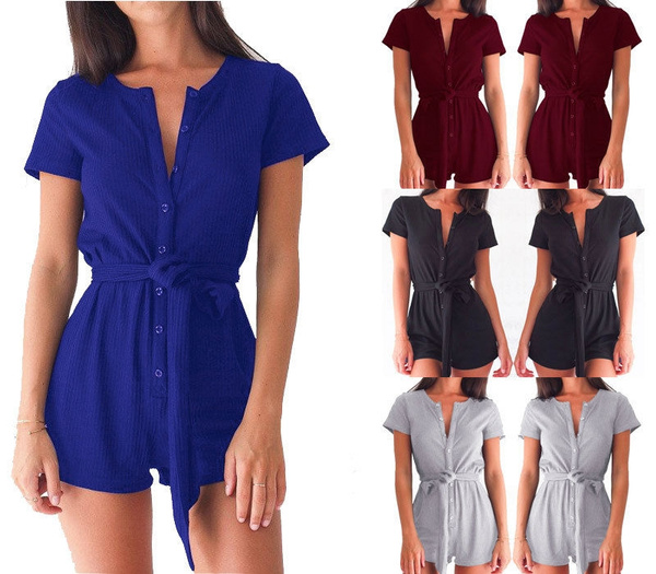 Picture of Fashion Women Ladies V-neck Clubwear Playsuit Bodycon Party Jumpsuit Romper Trousers