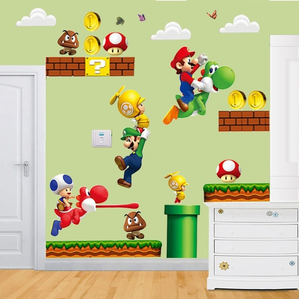 Wish | Cartoon Super Mario Bros Wall Stickers Boy Room Decoration ...
