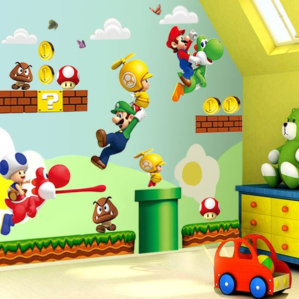 Mario Bros Muurstickers.Cartoon Super Mario Bros Wall Stickers Boy Room Decoration Kids Art
