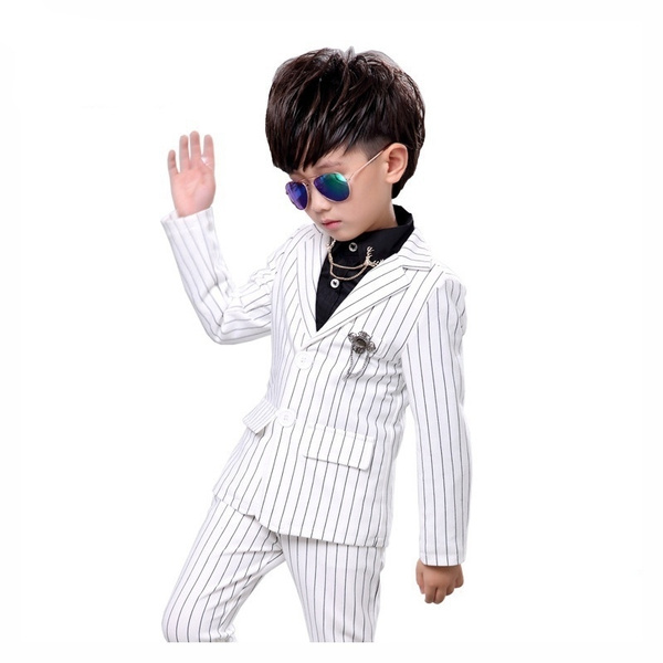 2pcs Kids Boy Jacket Pants Set White Black Formal Dress Stripes Suits