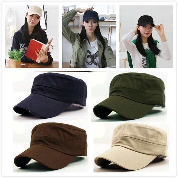 Unisex Classic Plain Vintage Army Hat Cadet Military Patrol Cap