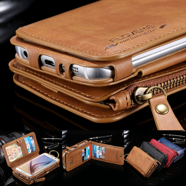 huge discount e22f4 83f7c Luxury Multi-function Floveme Vintage Business Zipper Magnetic Wallet  Genuine Leather Purse Flip Pouch Stand Photo Frame 18 Card Slots Handbag  Metal ...